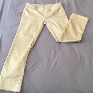 FREE PEOPLE Capris Stretch Tan/Yellow accent Sz.26